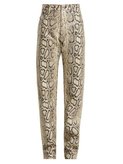 Kwaidan Editions Python Print Leather Trousers
