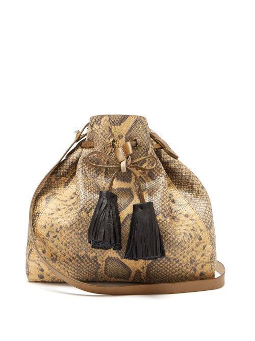 Isabel Marant Beeka Snake Effect Leather Bucket Bag