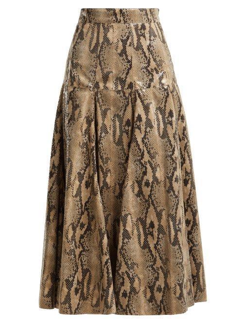 MSGM High Gloss Snake Print Midi Skirt