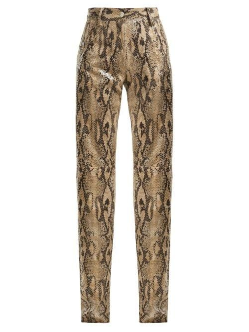MSGM High Waisted Snake Print Trousers