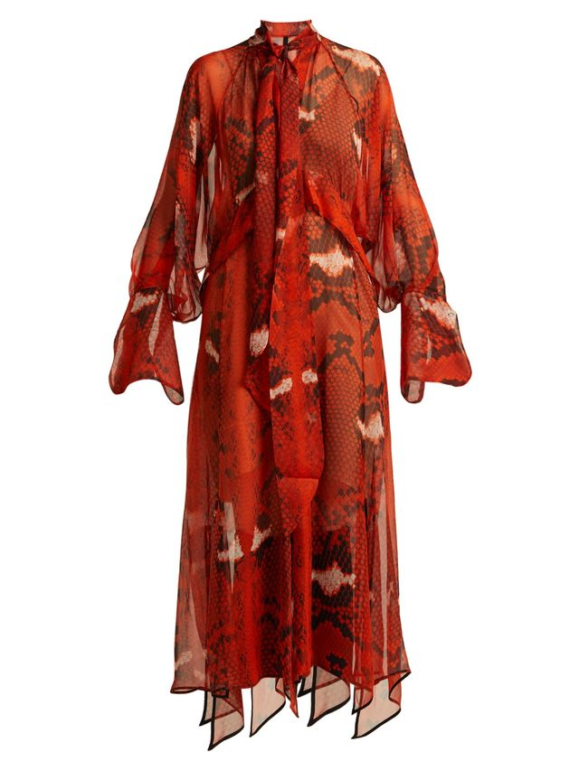 Peter Patrov Delmar Snake-Print Silk-Chiffon Dress