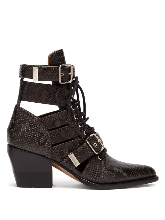 Chloe Rylee Cut-Out Python-Effect Leather Ankle Boots