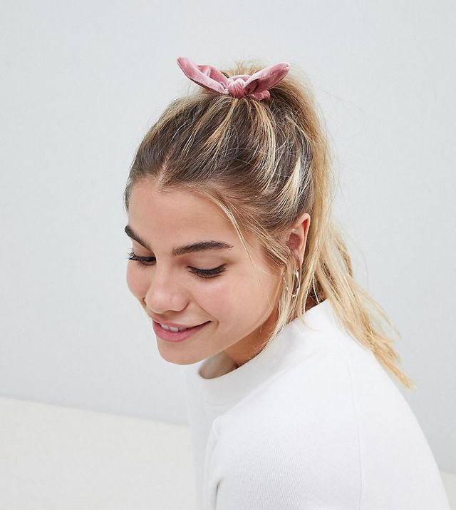 My Accessories pink velvet scrunchie with bow
