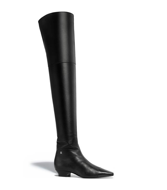 Chanel Lambskin Black High Boots