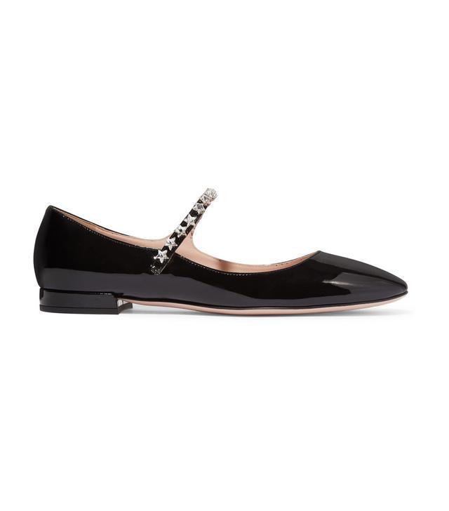 Miu Miu Crystal-Embellished Patent-Leather Point-Toe Flats