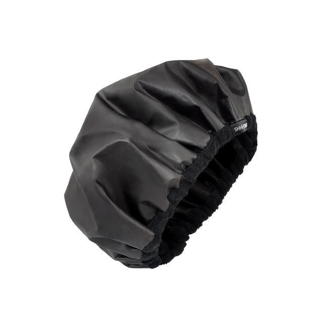 Shhh Silk Black Lined Satin Shower Cap