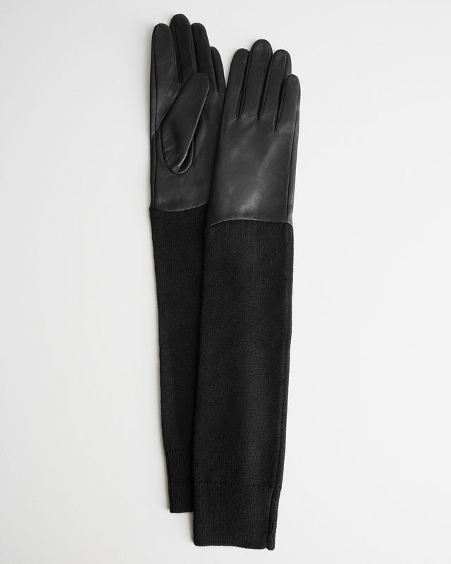 & Other Stories Long Knitted Leather Gloves