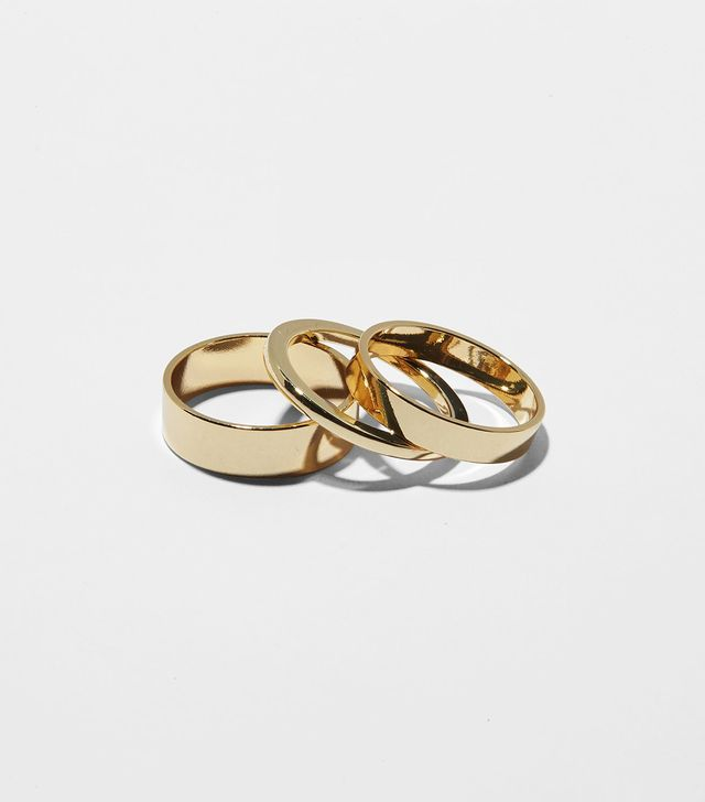 Gemmed Triplet Ring Set