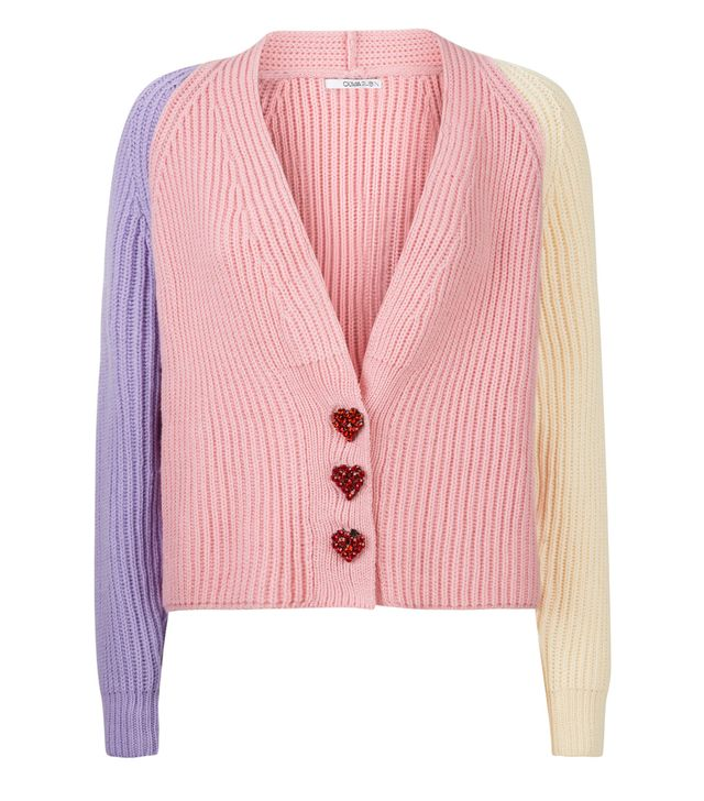 Olivia Rubin Tally Pink Mix Cardigan With Heart Buttons