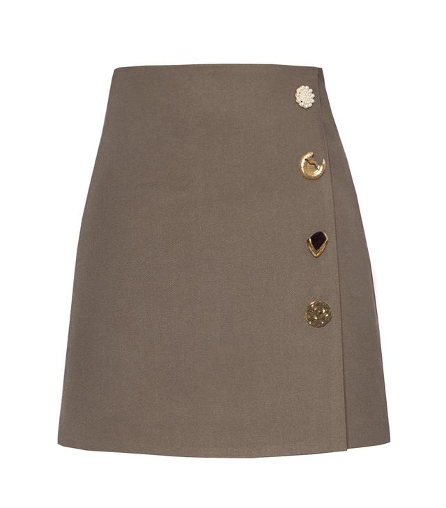 Pixie Market Brown Deco Button Skirt