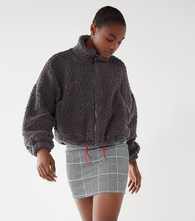 Urban Outfitters Willow Fuzzy Drawstring Teddy Jacket