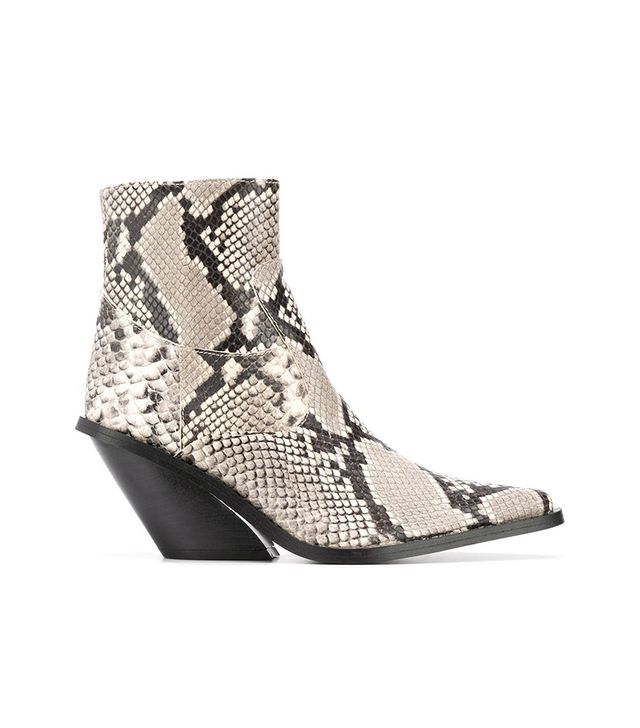 Gia Couture Python Print Ankle Boots