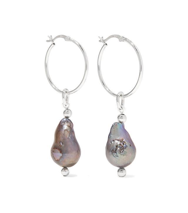 Mounser Breaker Silver-Tone Pearl Earrings
