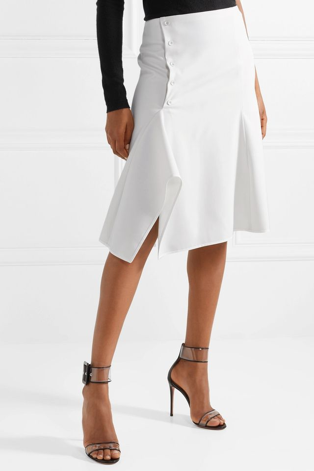 Narciso Rodriguez Asymmetric Stretch-Wool Midi Skirt