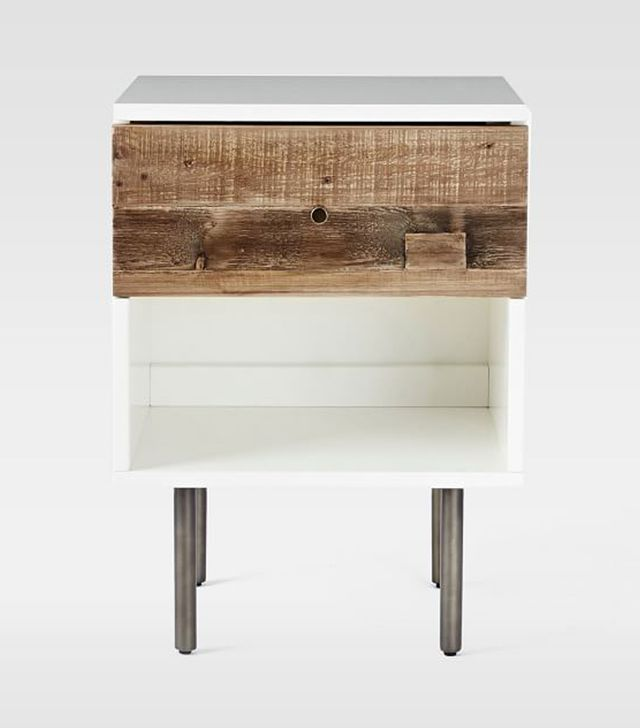 West Elm Reclaimed Wood and Lacquer Storage Nightstand