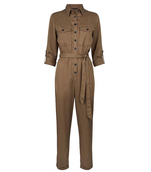 New Look Khaki Long Sleeve Utility Jumpsuit