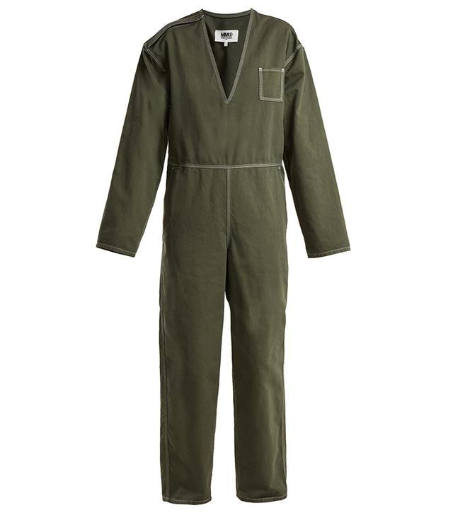 MM6 Maison Margiela V-Neck Straight-Leg Cotton Jumpsuit