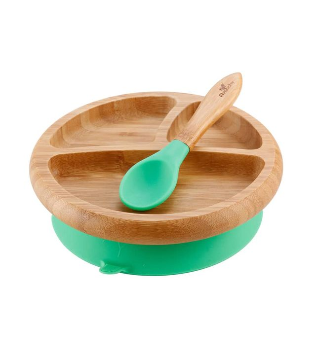 Avanchy Bamboo Stay-Put Suction Plate and Spoon