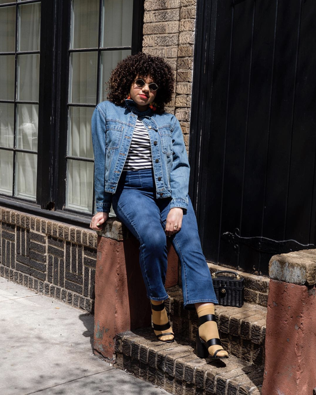 Denim bootcut jeans outfit