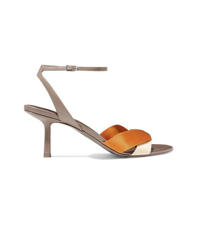 The Row Ribbons Leather and Satin Sandals