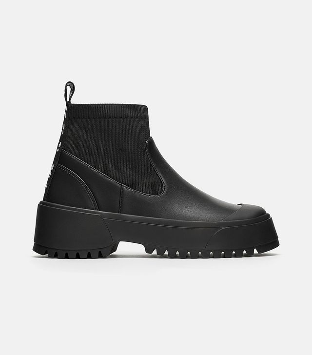 Zara Sock Style Flat Ankle Boots