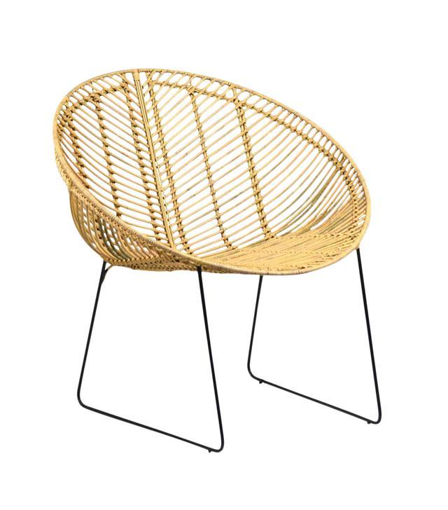 Chairish Rattan and Iron Cone Chair