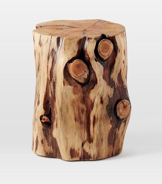 West Elm Natural Tree-Stump Side Table