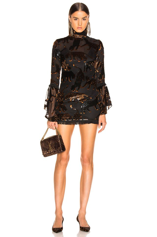 Sandra Mansour Leopard des Neiges Mini Dress