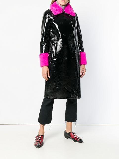 Stand Contrasting Fur Detail Coat