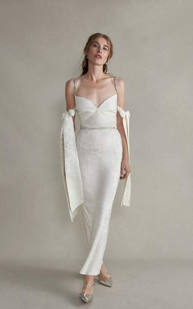 Markarian Rhett Jeweled Cami Strap Dress With Arm Bow Detail