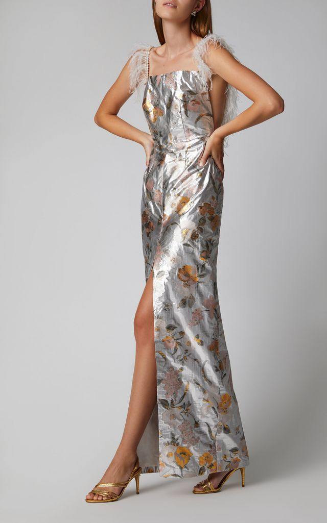Markarian Front Slit Floral Lamé Gown
