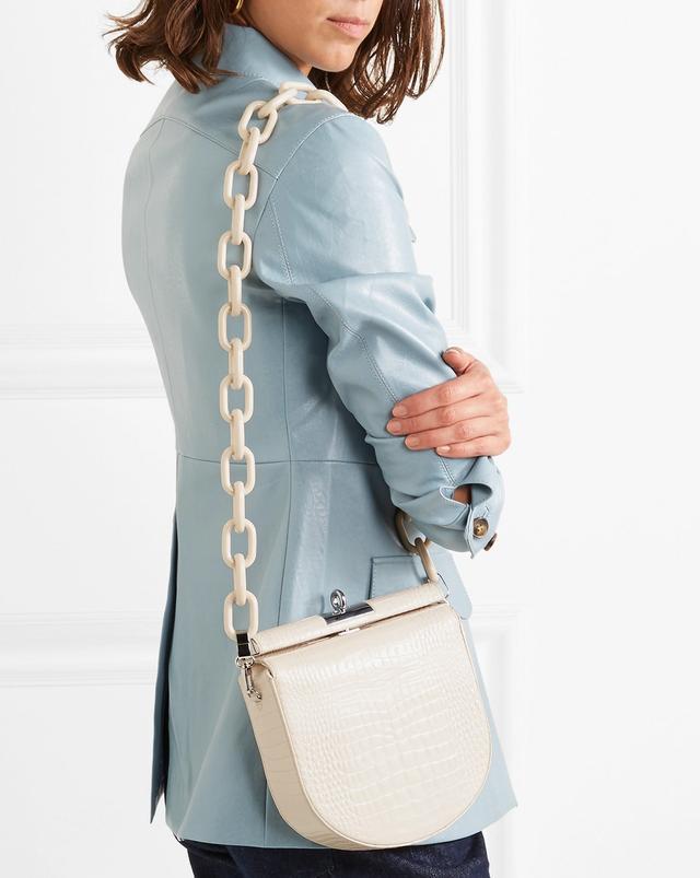 Gu_de Demi-Lune Croc-Effect Leather Shoulder Bag