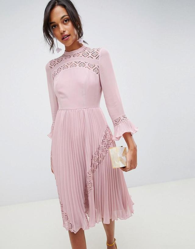 ASOS Design Lace Insert Pleated Midi Skater Dress