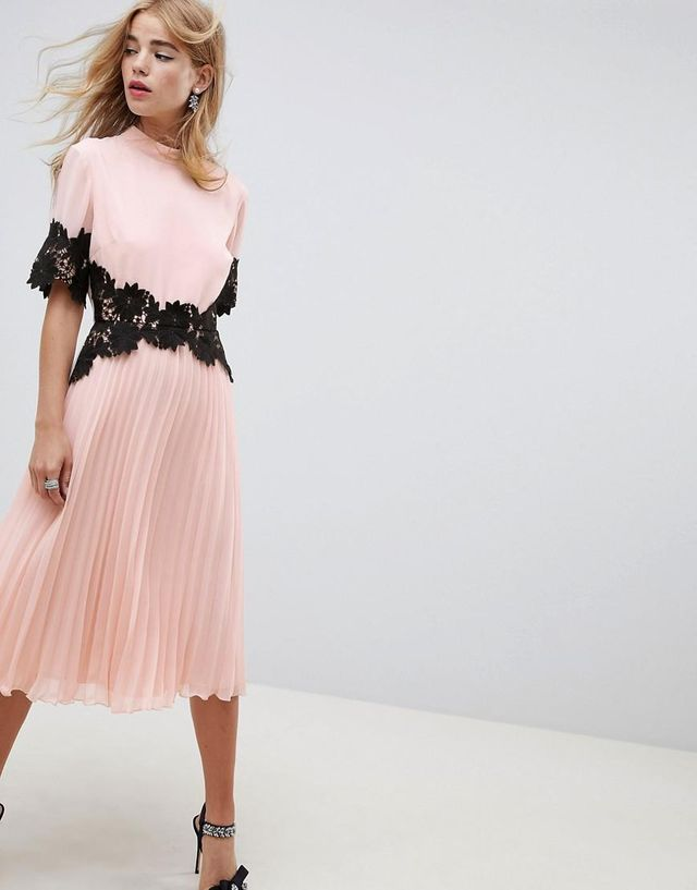 ASOS Design Lace Waist and Cuff Pleated Midi Dress