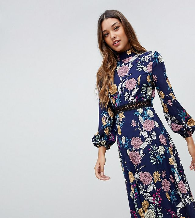 Boohoo Lace Insert Open Back Midi Dress in Blue Floral