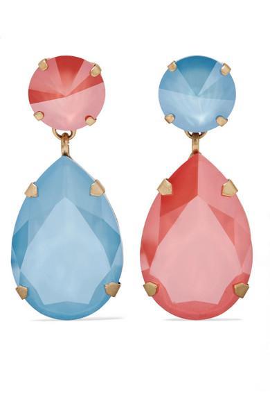 Roxanne Assoulin Hip Hop But Not Gold-Tone Swarovski Crystal Clip Earrings