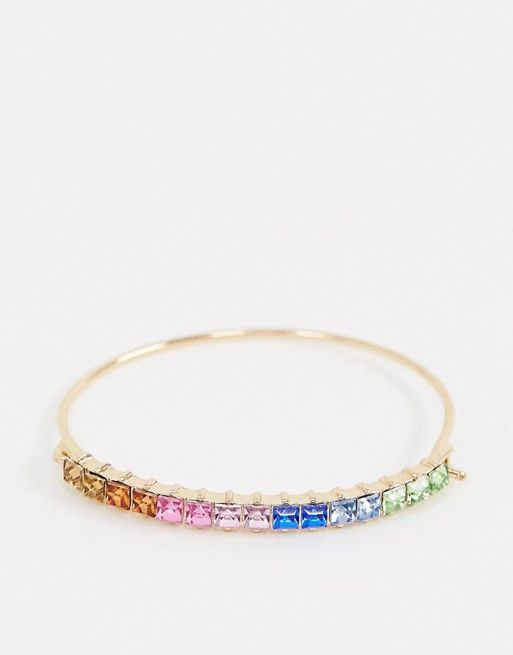 Asos Design Cuff Bracelet With Rainbow Crystals in Copper