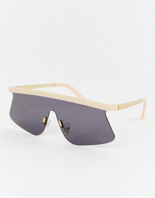 ASOS Design Flared Flat Lens Visor Sunglasses
