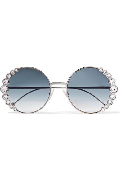Fendi Round-Frame Crystal-Embellished Gold-Tone Sunglasses