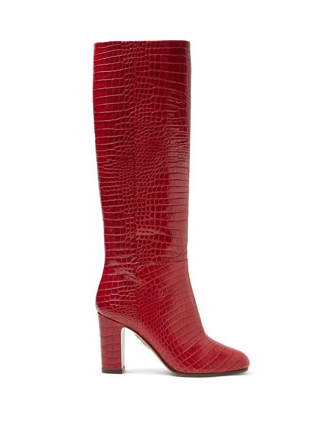 Aquazurra Brera 85 Crocodile-Effect Leather Knee-High Boots