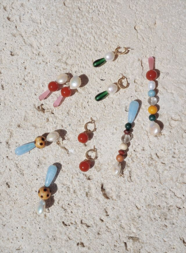 NST Quartz & Wood Drop Earrings