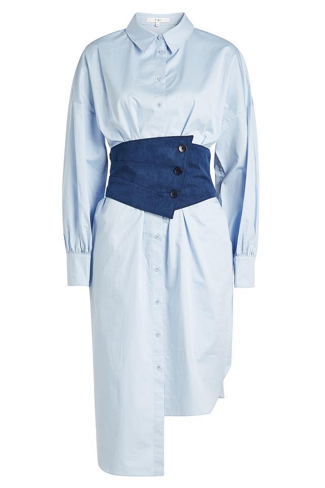 Tibi Cotton Poplin Corset Shirt Dress