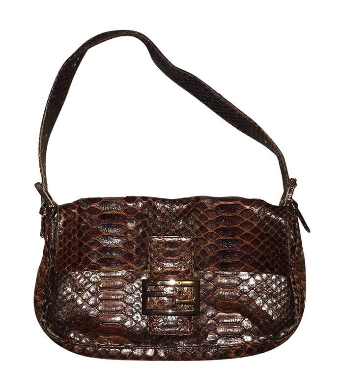 224dfb3d0e14 Pinterest · Shop · Fendi Baguette Python Handbag (£378). Brown python ...