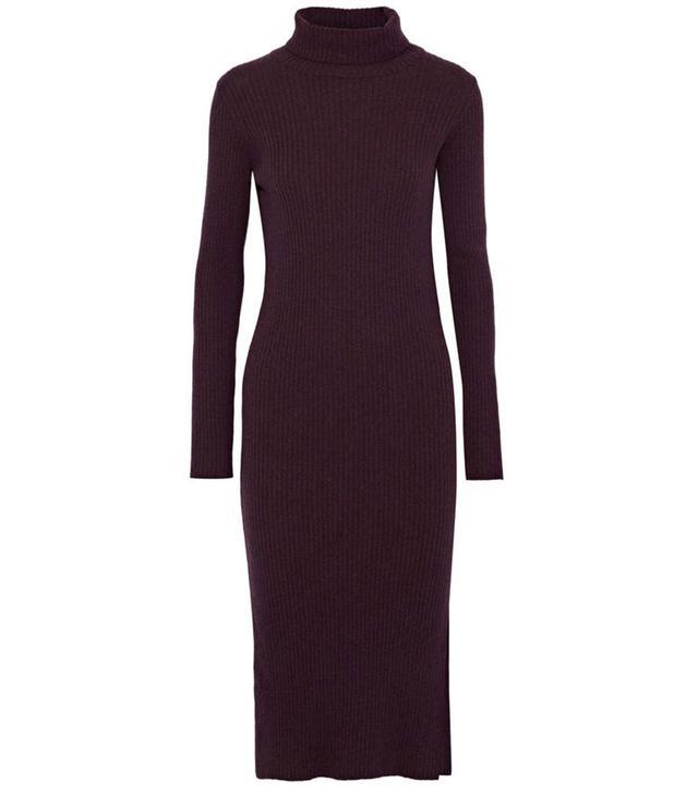 Iris & ink Tyra Ribbed Merino Wool Turtleneck Dress