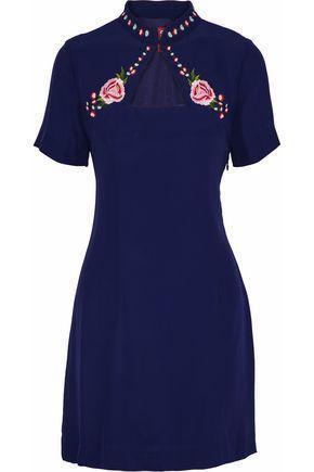 Staud Amelie Embroidered Crepe de Chine Mini Dress