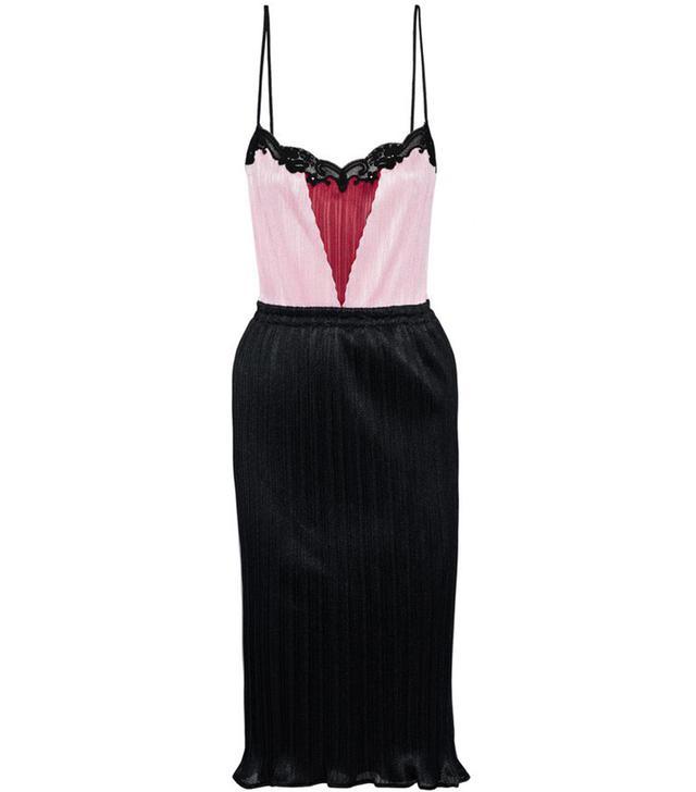Alexander Wang Color-Block Lace-Trimmed Plissé Mesh Dress