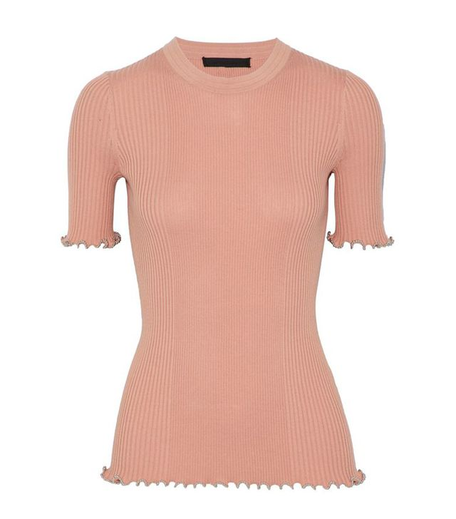 Alexander Wang Bead-Trimmed Ribbed Cotton Top
