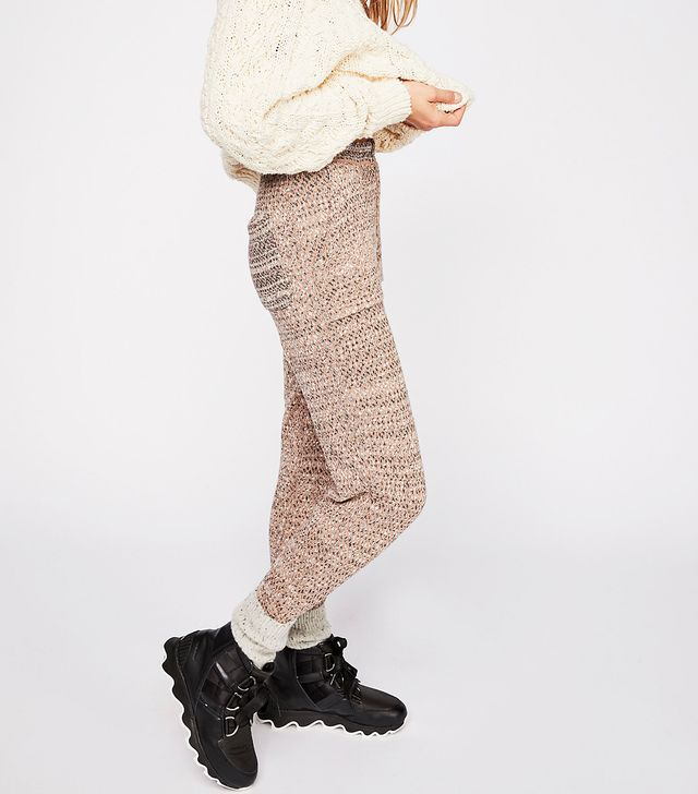 Free People Cozy Knit Trousers in Pink Combo