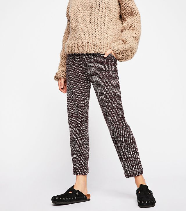 Free People Cozy Knit Trousers in Deep Red Combo