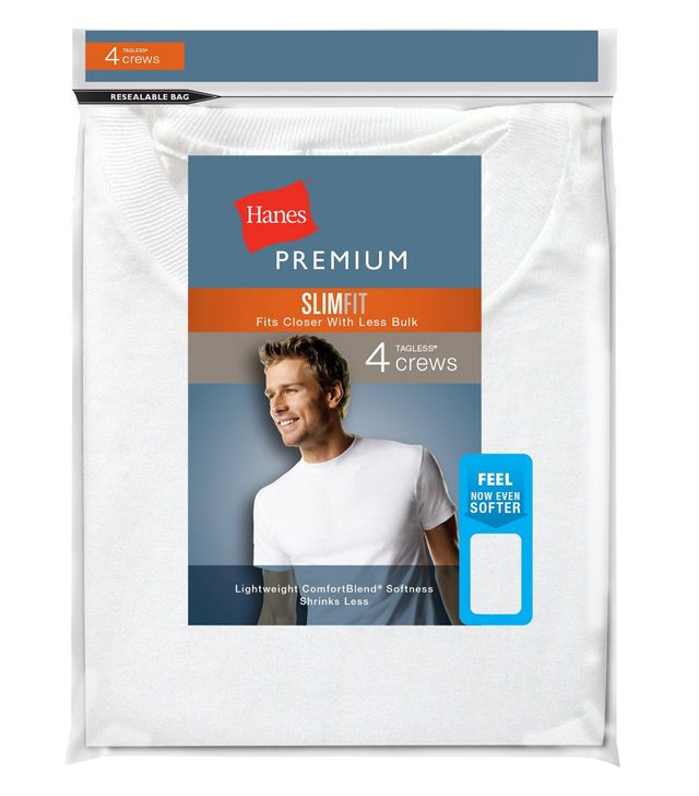 Hanes Premium Men's 4-Pack Slim Fit Crew-Neck T-Shirts
